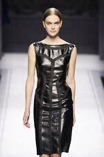ALBERTA FERRETTI Black Leather Cut Out Sheer Panel Dress 42 6  8