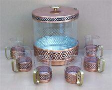 Service à PUNCH métal cuivré verre 6 tasses verres déco table centre table