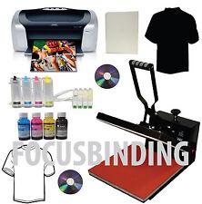 "15x15"" Heat Press,Printer,CISS,Ink Refills Transfer Paper Tshirt Start-up Bundle"