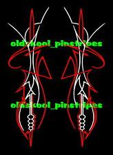 Pinstripe pinstriping hot rat rod hood trunk fender custom vinyl decal *PAIR*