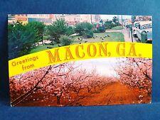 Postcard GA Macon 1950's Dual View Third Street & Peach Orchard in Bloom