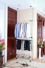 TELESCOPIC WHITE WALK IN WARDROBE CLOTHES SHOE HANGER STORAGE SPACE RAIL SYSTEM