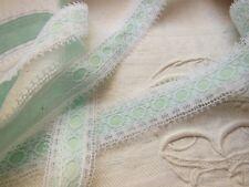 ancienne dentelle vintage nylon blanche effet ruban bleu tendre 2 mètres