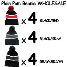 PLAIN SOLID BLANK POM BEANIES FOR SALE!!! LOT OF 12 POM BEANIE HATS WINTER HATS