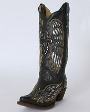 Women's Corral Western Boot Black / Silver Wings And Cross Snip Toe A1994