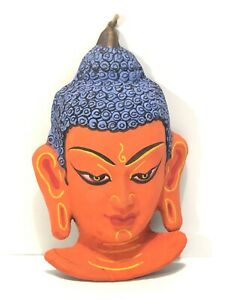 """Hand Made in Nepal-Colorful Buddha Bust Wall Hanging Statue Decor 6"""" Figure"""