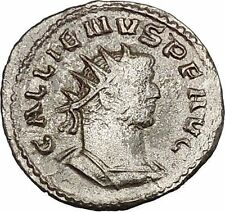 GALLIENUS Billon Silver Ancient  Roman Coin ROMA with Victory  i46480