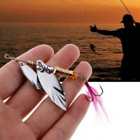 Metal Fishing Lure Sequins Spinner Feather Spoon Fishhook Baits Tackle Accessory