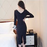 Women Long Sweater Dress Knit Slim Sexy Dresses Pullover Pencil Dresses