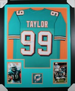 JASON TAYLOR (Dolphins teal PRO) Signed Autographed Framed Jersey w/ JSA