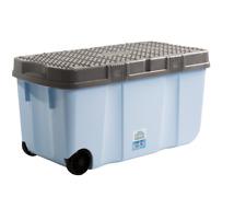 100L Almacenaje de Plástico Caja Carrito Compra Contenedor con 2 Ruedas Clip