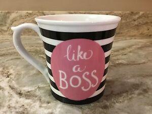 Large Coffee Mug 222 Fifth. Black And White Stripes Like A Boss. 18 Ounces. New