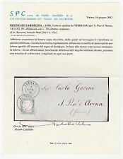 STORIA POSTALE 1856 SARDEGNA C.20 COBALTO VERDASTRO VERBANO 14/7 Z/5791
