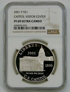 2001 P Capitol Visitor Center Proof Commemorative Silver Dollar NGC PF 69 UCAM
