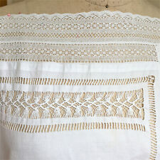 Antique Handmade White Linen Runner Cotton Lace Trim Cutwork Knotted Curtain