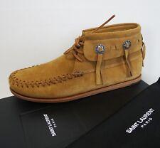 NIB SAINT LAURENT Mocassin INDIEN Tan Suede Booties Shoes 39.5 US-9.5