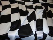"Checkered Flag 5.5"" Wide Dull Bridal Black/ White Satin fabric 60"" wide"