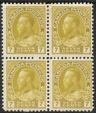 CANADA 1914 7c pale sage-green block of 4, mint hinged. SG 207. Cat.£1100.