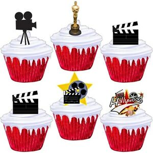 Hollywood Theme Stand Up Cup Cake Toppers Edible Birthday Party Decorations