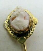 Antique Victorian Hand Chased Gold Pink Coral Cameo Stick Pin
