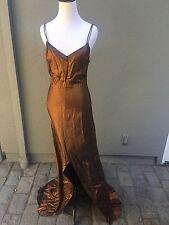 OSCAR DE LA RENTA Gown Dress Bronze Slip Slit Metallic Size: S