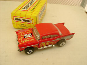 1993 MATCHBOX SUPERFAST #4 RED WITH FLAMES FLIP NOSE 57 CHEVY NEW DAMAGED BOX