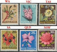 Australian 1968 MNH First Decimal Set of 6x State Wildflower Stamp Emblem issues