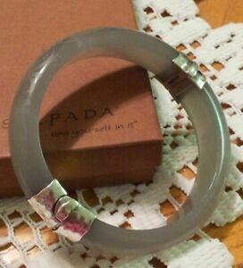 Silpada B2186 Sterling Silver Engraved Gray Resin Scroll Bangle Bracelet