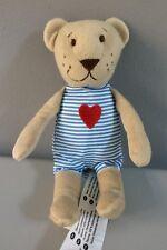 "IKEA 8"" Fabler Bjorn Teddy Bear Blue Stripe Red Heart  Plush Baby Toy Comforter"