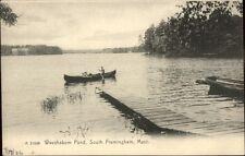 South Framingham Ma Waushakum Pond Canoe & Dock c1910 Postcard