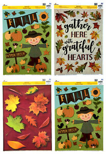Lot of 4 Harvest Window Clings Fall Autumn Thanksgiving Leaves Pumpkins Crows +