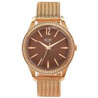 Henry London Women's 39mm Pink Steel Bracelet & Case Quartz Watch HL39-SM-0124