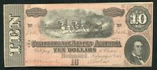 1864 $10 Ten Dollars Csa Confederate States Of America Currency Note Au