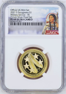 2021 S Proof Native American U.S. Military since 1775 NGC PF 69 $1 coin FR S-Set