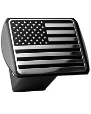 Usa Us American Flag 3d Chrome Emblem on Black Trailer Metal Hitch Cover Fits.
