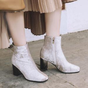 Womens High Heels Velvet Block Ladies Side Zipper Shoes Pumps Ankle Boots Chic
