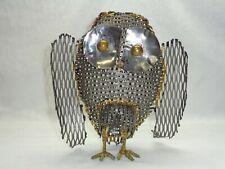 Vtg Expanded Metal Mesh Owl Figure Industrial Deco Mcm Steampunk Accent Decor
