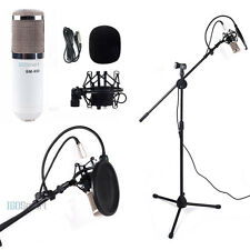 Recording Kit Condenser Microphone w/ Shock Mount Pop Filter Boom Stand Tripod