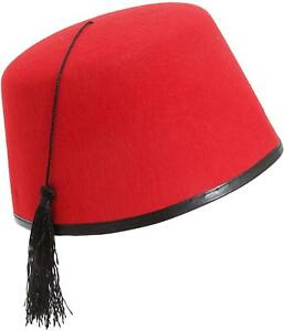 Red Fez Hat Adult Tommy Cooper Turkish Fancy Dress Costume Accessory