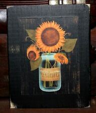 Sunflowers Mason Jar Primitive Rustic Wooden Sign Block Shelf Sitter 3.5X4.5