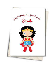 Personalised Wonder Woman Super hero Any Age Or relation Birthday Card