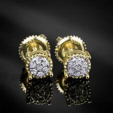 Women's Beautiful Fine DIAMOND EARRINGS 0.10 CT Flower Cluster 10kt Yellow Gold