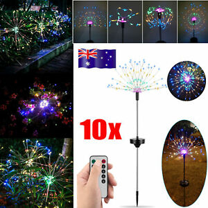 10x Garden LED Solar Starburst Firework Lamp Plant Path XMAS Fairy String Light