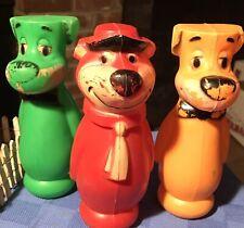 3 Vintage Yogi Bear huckleberry hound Hanna Barbera Hollow Plastic Bowling Pins