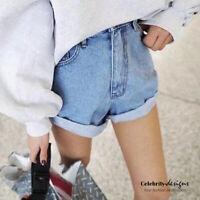 Oversized Boyfriend Denim Jean Shorts High Waisted & Cuffed Size 6 8 10 12 14
