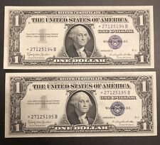 (2) CONSECUTIVE 1957B $1 ONE DOLLAR *STAR SILVER CERTIFICATES Choice Gem Unc