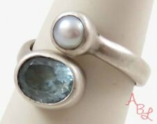 Jgd Sterling Silver Vintage 925 Wrap Topaz & Pearl Ring Sz 7 (5.4g) - 745192