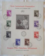 BELGIEN - GEDENKBLATT - 1. Int. BRIEFMARKENAUSSTELLUNG Ostende 1937 - ANSCHAUEN