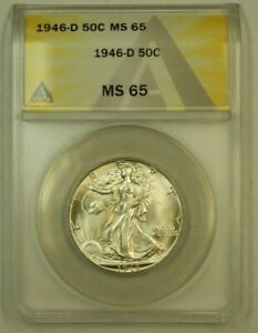 1946-D Walking Liberty Silver Half Dollar 50c ANACS MS-65 C