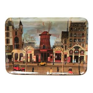 Vintage RDE Import Inc Moulin Rouge Decorative Tray Melamine Made In Italy